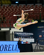 """Sara Rocca during the """"1st Trofeo Citta di Monza"""" tournament. On this occasion we have seen the rhythmic gymnastics teams of Belarus and Italy challenge each other. The Bilateral period was only June 9, 2019 at the Candy Arena in Monza, Italy."""