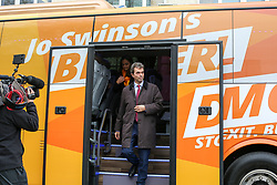 © Licensed to London News Pictures. 21/11/2019. London, UK. Liberal Democrat Shadow Brexit Secretary, TOM BRAKE and London Mayoral candidate, SIOBHAN BENITA<br /> arrives at Karamel Cafe - a creative regeneration charity in Hornsey and Wood Green, north London in Liberal Democrats' campaign bus. Photo credit: Dinendra Haria/LNP