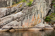 Pictographs on rock cliffs of Blindfold Lake<br />