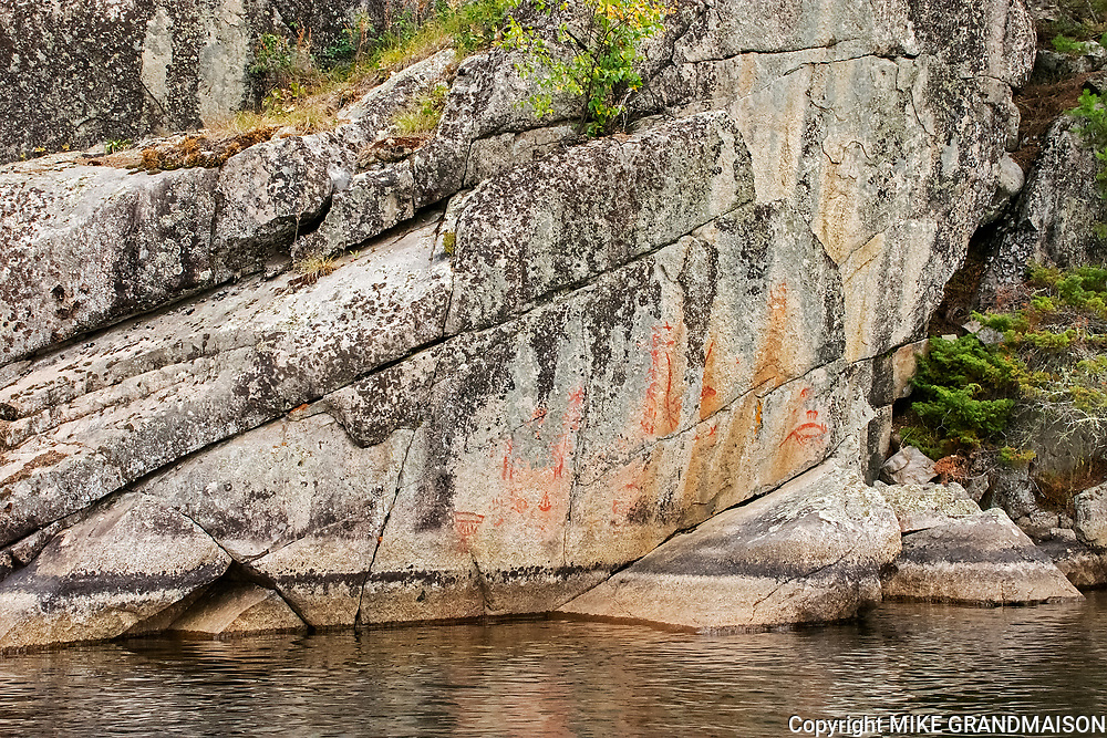 Pictographs on rock cliffs of Blindfold Lake<br />Kenora DIstrict<br />Ontario<br />Canada