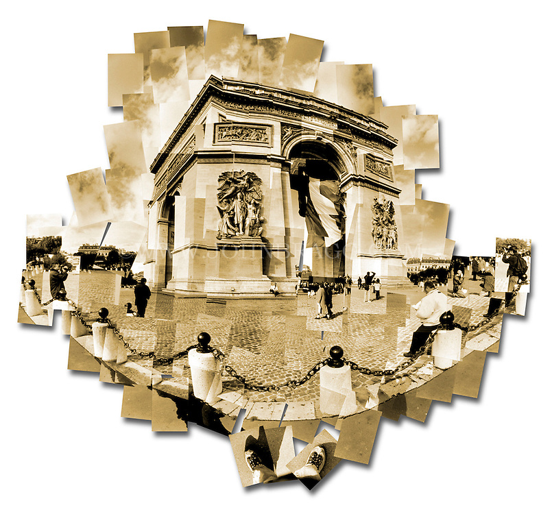 Sepia toned photo collage of the Arc de Triomphe in Paris, France.
