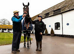 Nicky Henderson and Altior during the visit to Nicky Henderson's yard at Seven Barrows, Lambourn.