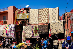 Carpets for sale in a market square  in the medina, Marrakech, Morocco, North Africa<br /> <br /> (c) Andrew Wilson | Edinburgh Elite media