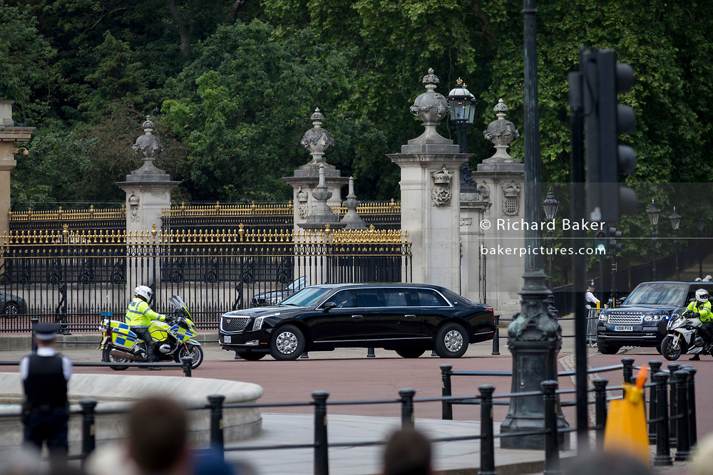 On US President Donald Trump's first day of a controversial three-day state visit to the UK by the 45th American President, his Presidential cavalcade enters Buckingham Palace, on 3rd June 2019, in London England.