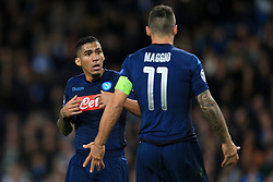 17th October 2017 - UEFA Champions League - Group F - Manchester City v Napoli - Allan of Napoli argues with teammate Christian Maggio - Photo: Simon Stacpoole / Offside.