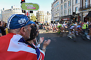 Fans dressed in Union Jacks during the Tour of Britain 2016 stage 8 , London, United Kingdom on 11 September 2016. Photo by Martin Cole.
