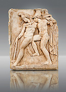 Photo of Roman relief sculpture, Aphrodisias, Turkey, Images of Roman art bas reliefs.  Achilles supports the dying Amazon queen Penthesilea whom he has mortally wounded. Her double headed axe slips from her hands. The queen had come to fight against the Greeks in the Trojan war and Achilles fell in love with her. .<br /> <br /> If you prefer to buy from our ALAMY STOCK LIBRARY page at https://www.alamy.com/portfolio/paul-williams-funkystock/greco-roman-sculptures.html . Type -    Aphrodisias     - into LOWER SEARCH WITHIN GALLERY box - Refine search by adding a subject, place, background colour, museum etc.<br /> <br /> Visit our ROMAN WORLD PHOTO COLLECTIONS for more photos to download or buy as wall art prints https://funkystock.photoshelter.com/gallery-collection/The-Romans-Art-Artefacts-Antiquities-Historic-Sites-Pictures-Images/C0000r2uLJJo9_s0