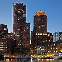 Boston scenic photography panorama image showing Boston Harbor and  skyline.