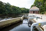The water entrance to Halton Lune hydro, a community owned renewable energy project, Halton, Lancashire.
