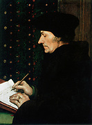 Desiderus Erasmus (1467-1536) Dutch humanist and scholar (1523).  Portrait by Hans Holbein the the Younger (1497-1543). Louvre, Paris.