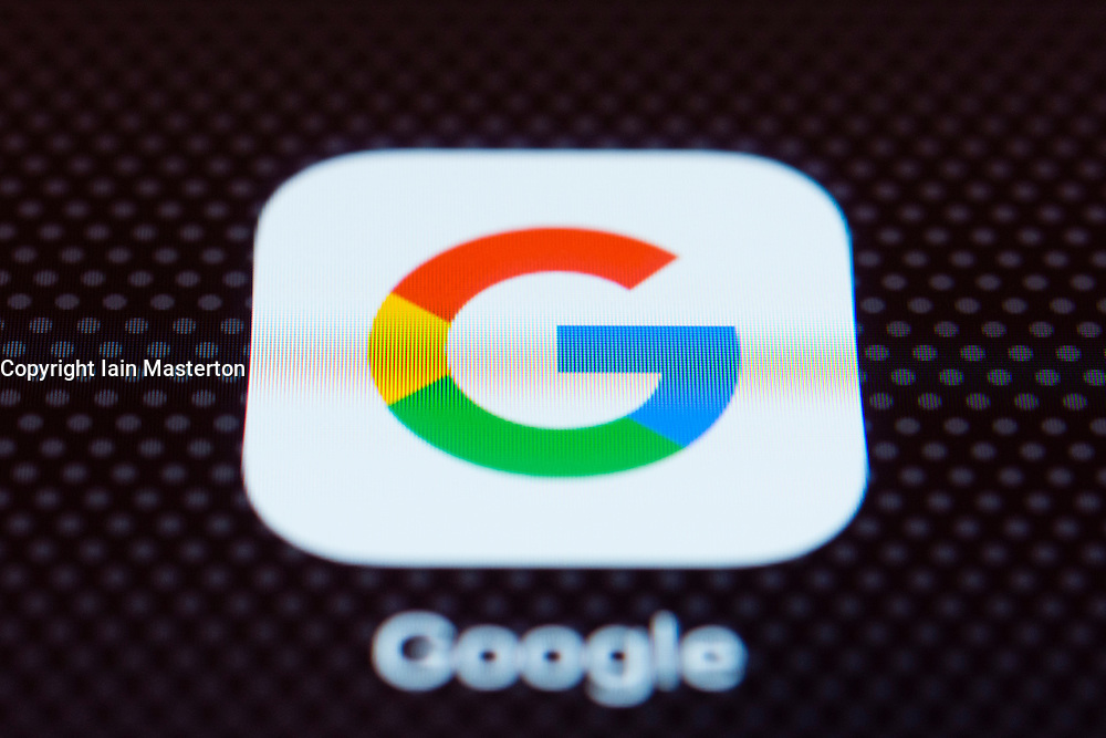 Google app close up on iPhone smart phone screen