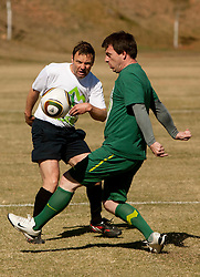 Sandi Skvarc vs Ales Zavrl of NZS during the friendly match between Slovenian football journalists and officials of Slovenian football federation at  Hyde Park High School Stadium on June 16, 2010 in Johannesburg, South Africa.  (Photo by Vid Ponikvar / Sportida)