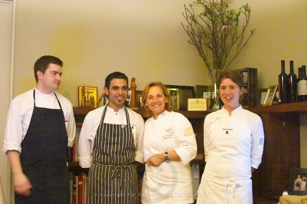 Dolly Irigoyen, famous chef and TV Presenter, with kitchen staff brigade The Dolly Irigoyen - famous chef and TV presenter - private restaurant, Buenos Aires Argentina, South America Espacio Dolli