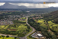 Aerial of Lihue in Kauai, Hawaii, USA