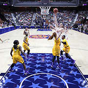 Breanna Stewart, UConn, hits a jump shot for two points  over Marina Laramie, East Carolina, during the UConn Huskies Vs East Carolina Pirates Quarter Final match at the  2016 American Athletic Conference Championships. Mohegan Sun Arena, Uncasville, Connecticut, USA. 5th March 2016. Photo Tim Clayton
