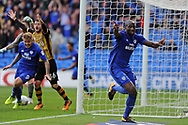 Cardiff City's Sol Bamba (r) celebrates after scoring his teams 1st goal for a last minute equaliser. EFL Skybet championship match, Cardiff city v Sheffield Wednesday at the Cardiff City Stadium in Cardiff, South Wales on Saturday 16th September 2017.<br /> pic by Carl Robertson, Andrew Orchard sports photography.