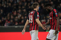 March 2, 2019 - Milan, Milan, Italy - Krzysztof Piatek #19 of AC Milan and Frank Kessie #79 of AC Milan reacts to a missed chance during the serie A match between AC Milan and US Sassuolo at Stadio Giuseppe Meazza on March 02, 2019 in Milan, Italy. (Credit Image: © Giuseppe Cottini/NurPhoto via ZUMA Press)