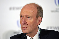 Minister for Transport, Tourism and Sport Shane Ross, during the 2023 Rugby World Cup host candidates presentations at the Royal Garden Hotel in London, where Ireland are bidding to host the event against France and South Africa.