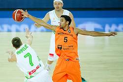 Klemen Prepelic of Slovenia, Leon Williams of Netherlands and Miha Zupan of Slovenia during basketball match between Slovenia vs Netherlands at Day 4 in Group C of FIBA Europe Eurobasket 2015, on September 8, 2015, in Arena Zagreb, Croatia. Photo by Matic Klansek Velej / Sportida