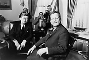 John Fitzgerald Kennedy (May 29, 1917 – November 22, 1963), 35th President of the United States, serving from 1961 until his assassination in 1963. Meeting with Berlin Mayor Willy Brandt.