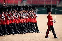 May 13, 2019, London, UK: Soldiers from the Queen's Guard take part in a rehearsal of 'Trooping the Colour' at Horse Guards Parade. The ceremony celebrates the official birthday of the Queen, and takes place this year on Saturday, 8 June 2019. (Credit Image: © Tom Nicholson/London News Pictures via ZUMA Wire)