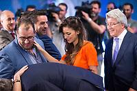 Beatriz Espejel, girlfriend of Koke Resurrecccion during the act of renewal of the contract until 2024 of Koke Resurrecccion  at Vicente Calderon stadium in Madrid, Spain. May 23, 2017. (ALTERPHOTOS/Rodrigo Jimenez)