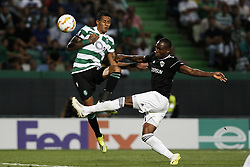 September 20, 2018 - Lisbon, Portugal - Raphinha of Sporting (L) vies for the ball with Donal Guerrier of Qarabag FK (R)  during Europa League 2018/19 match between Sporting CP vs Qarabagh FK, in Lisbon, on September 20, 2018. (Credit Image: © Carlos Palma/NurPhoto/ZUMA Press)