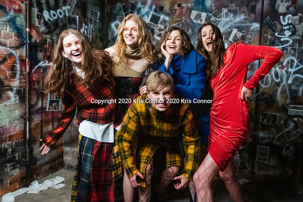 Models pose during the 2020 Monse New York Fashion Week Show.
