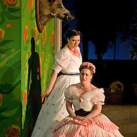 Picture shows :  Kate Valentine (white dress) as Karolina and Jane Irwin (seated) as Ane?ka...Picture  ©  Drew Farrell Tel : 07721 ?735041.THE TWO WIDOWS by  Smetana.A SCOTTISH OPERA AND EDINBURGH INTERNATIONAL FESTIVAL CO-PRODUCTION.Premiering at the Edinburgh International Festival, this brand new production stars Scottish soprano Kate Valentine and internationally renowned mezzo Jane Irwin..The directorial partnership between Tobias Hoheisel and Imogen Kogge transforms this delicate comedy into something that digs deeper without losing its inherent charm. Francesco Corti conducts this, his first production as Music Director of Scottish Opera...Kate Valentine as Karolina Záleská.Jane Irwin as Ane?ka Miletinská?Nicholas Folwell as Mumlal?David Pomeroy as Ladislav Podhajsky?Ben Johnson as Toník, a peasant?Rebecca Ryan as Lidka, a maid.?Conductor..Francesco Corti.Directors ..         Tobias Hoheisel & Imogen Kogge.Designer..         Tobias Hoheisel.Lighting..         Peter Mumford.Choreographer  .Kally Lloyd-Jones.Dramaturg..Micaela von Marcard..Performances :.Edinburgh Festival Theatre?9 ? 11 ? 12  August?Theatre Royal, Glasgow?10 ?  14 ? 17 ? October?Note to Editors:  This image is free to be used editorially in the promotion of Scottish Opera and The Edinburgh International Festival. Without prejudice ALL other licences without prior consent will be deemed a breach of copyright under the 1988. Copyright Design and Patents Act  and will be subject to payment or legal action, where appropriate..Further further information please contact Kerryn Hurley Scottish Opera Press Manager t:   0141 242 0511. Or contact The Edinburgh International Festival Press Office  +44 (0)131 473 2020.