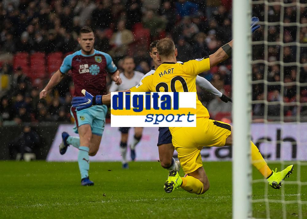 Football - 2018 / 2019 Premier League - Tottenham Hotspur vs. Burnley<br /> <br /> Joe Hart (Burnley FC) spreads himself infront of Erik Lamela (Tottenham FC)  to block his shot at Wembley Stadium.<br /> <br /> COLORSPORT/DANIEL BEARHAM