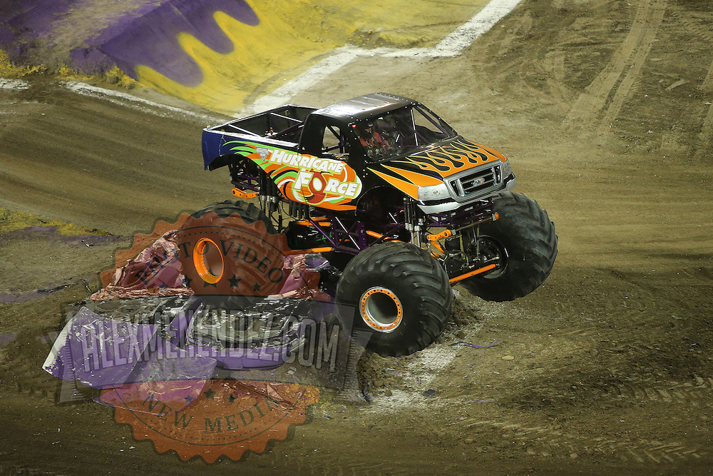 Hurricane Force driven by Steven Thompson is seen during the Monster Jam big truck event at the Citrus Bowl in Orlando, Florida on Saturday, January 25, 2014. (AP Photo/Alex Menendez)