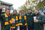 a Group of South African fans pose outside Twickenham Stadium before k/o. Rugby World Cup 2015 quarter final match, South Africa v Wales at Twickenham Stadium in London, England  on Saturday 17th October 2015.<br /> pic by  John Patrick Fletcher, Andrew Orchard sports photography.