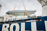 The record breaking yacht, Maiden, is lowered into UK waters for after being found abandoned in the Seychelles<br /> <br /> Tracy Edwards MBE and crew reunited with Maiden 27 years after sailing into the history books. Maiden and her all-female crew competed in the Whitbread Round The World Race in 1989/90 winning two legs and coming second overall. Over the next 12 months, Maiden will be restored in Hamble near Southampton. She will then sail around the world as an ambassador for the Maiden Factor, to promote access to education for girls.<br /> Picture date: Monday April 24, 2017.<br /> Photograph by Christopher Ison © Empics<br /> 07544044177<br /> chris@christopherison.com<br /> www.christopherison.com