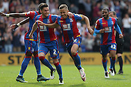 Dwight Gayle of Crystal Palace (c) celebrates with Joel Ward of Crystal Palace after scoring his sides 2nd goal to make it 2-1.Barclays Premier League match, Crystal Palace v Stoke City at Selhurst Park in London on Saturday 7th May 2016. pic by John Patrick Fletcher, Andrew Orchard sports photography.