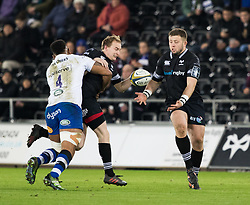 Ospreys' Luke Price offloads to Scott Otten<br /> <br /> Photographer Simon King/Replay Images<br /> <br /> Anglo-Welsh Cup Round 4 - Ospreys v Bath Rugby - Friday 2nd February 2018 - Liberty Stadium - Swansea<br /> <br /> World Copyright © Replay Images . All rights reserved. info@replayimages.co.uk - http://replayimages.co.uk