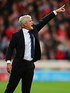 Mark Hughes, manager of Stoke city reacts. Premier league match, Stoke City v Arsenal at the Bet365 Stadium in Stoke on Trent, Staffs on Saturday 19th August 2017.<br /> pic by Bradley Collyer, Andrew Orchard sports photography.