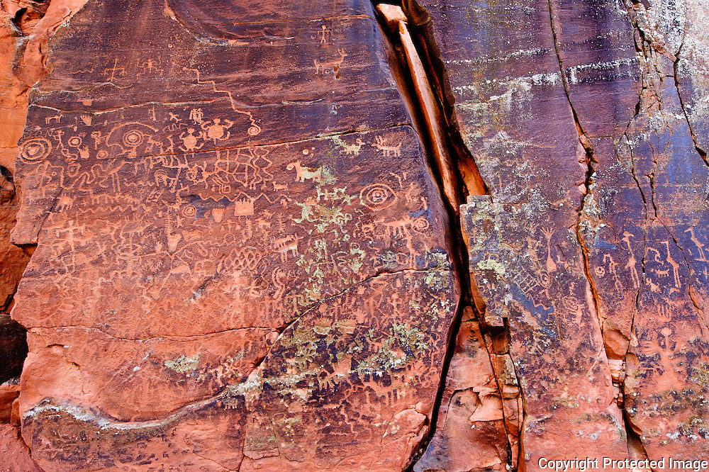 Indian petroglyphs at the V-V (V Bar V) Ranch National Historic site in the Verde Valley. These symbols are used as a calendar using the sun to tell the seasons.