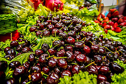 December 11, 2016 - Sao Paulo, Sao Paulo, Brazil - Cherries at the Municipal Market (Mercadao), in Sao Paulo, Brazil on 11 December 2016. In addition to the items of vegetables, butcher, fishmonger and emporium (national and imported) gathered in a single space, also has restaurants and snack bars that offer chips with the city's face. (Credit Image: © Cris Faga/NurPhoto via ZUMA Press)
