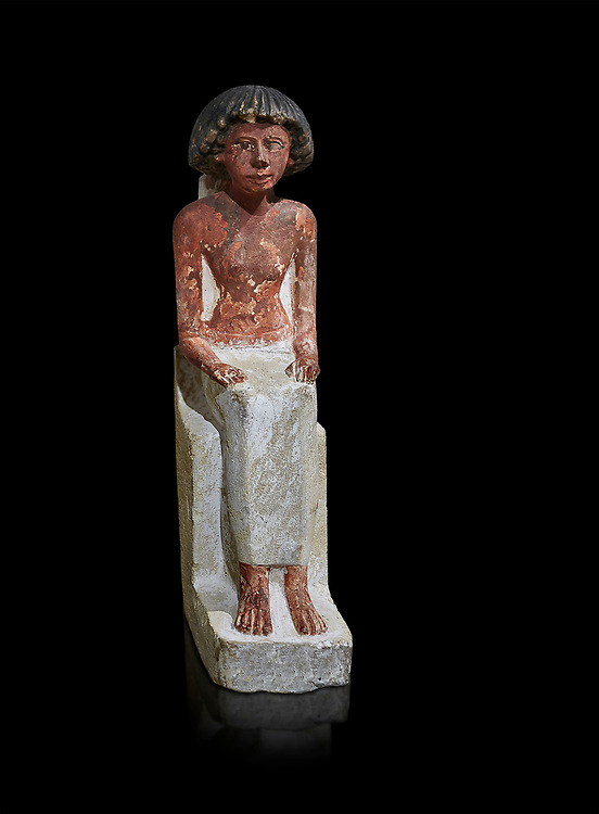 Ancient Egyptian statue of Maa, limestone, New Kingdom, 18th Dynasty, (1480-1390 BC), Thebes Necropolis. Egyptian Museum, Turin. black background. Drovetti collection. Cat 3089 .<br /> <br /> If you prefer to buy from our ALAMY PHOTO LIBRARY  Collection visit : https://www.alamy.com/portfolio/paul-williams-funkystock/ancient-egyptian-art-artefacts.html  . Type -   Turin   - into the LOWER SEARCH WITHIN GALLERY box. Refine search by adding background colour, subject etc<br /> <br /> Visit our ANCIENT WORLD PHOTO COLLECTIONS for more photos to download or buy as wall art prints https://funkystock.photoshelter.com/gallery-collection/Ancient-World-Art-Antiquities-Historic-Sites-Pictures-Images-of/C00006u26yqSkDOM