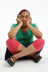 Teenage girl in studio portrait