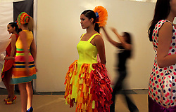 Moroccan models prepare backstage to take part in FestiMode in Casablanca, Morocco on May 8, 2009.