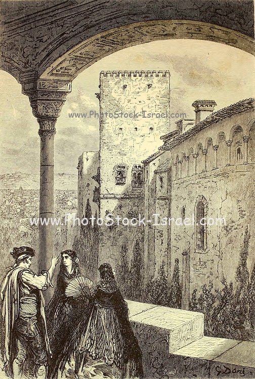 La Tour de Comares [The Tower of Comares, The Alhambra Granada, Andalusia, Spain] Page illustration from the book 'L'Espagne' [Spain] by Davillier, Jean Charles, barón, 1823-1883; Doré, Gustave, 1832-1883; Published in Paris, France by Libreria Hachette, in 1874