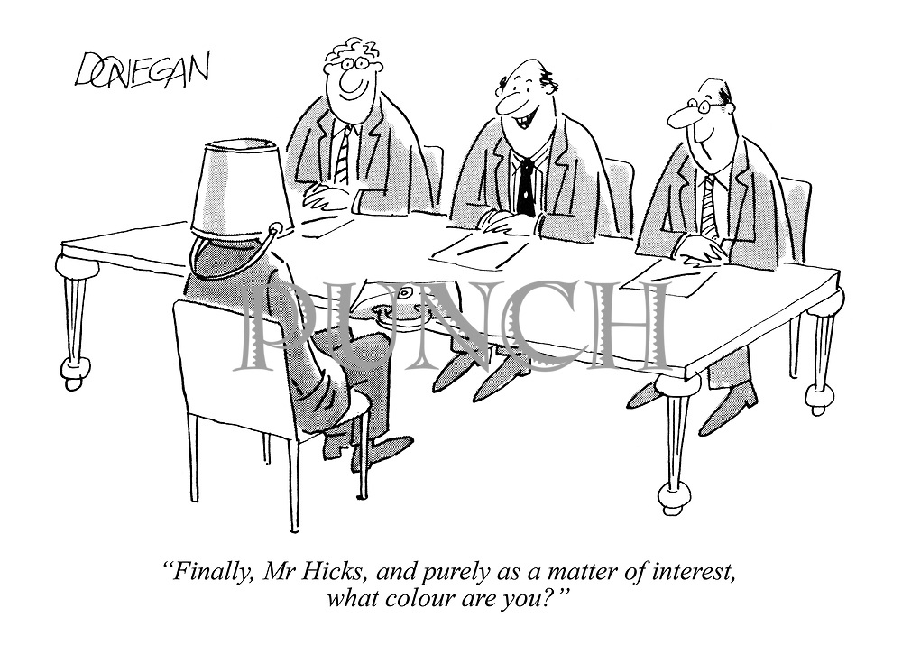 """""""Finally, Mr Hicks, and purely as a matter of interest, what colour are you?"""""""