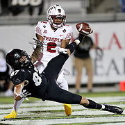ORLANDO, FL - NOVEMBER 14:  Christian Braswell #2 of the Temple Owls breaks up a pass to Jacob Harris #87 of the Central Florida Knights at Bounce House-FBC Mortgage Field on November 14, 2020 in Orlando, Florida. (Photo by Alex Menendez/Getty Images) *** Local Caption *** Christian Braswell; Jacob Harris