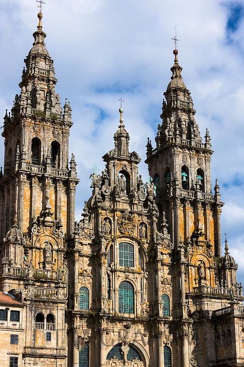 Facade do Obradoiro of the Baroque style 11th Century Roman Catholic cathedral, Catedral de Santiago de Compostela, Galicia, Spain
