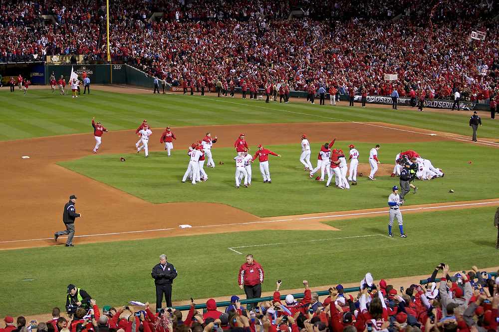 The St. Louis Cardinals celebrate winning the World Series against the Texas Rangers at Busch Stadium in St. Louis, Missouri on October 28, 2011.