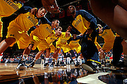 CHARLOTTESVILLE, VA- NOVEMBER 29:  The Michigan Wolverines in the huddle before the game against the Virginia Cavaliers on November 29, 2011 at the John Paul Jones Arena in Charlottesville, Virginia. Virginia defeated Michigan 70-58. (Photo by Andrew Shurtleff/Getty Images) *** Local Caption ***