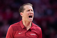 FAYETTEVILLE, AR - MARCH 4:  Head Coach Eric Musselman of the Arkansas Razorbacks reacts to a call during a game against the LSU Tigers at Bud Walton Arena on March 4, 2020 in Fayetteville, Arkansas.  The Razorbacks defeated the Tigers 99-90.  (Photo by Wesley Hitt/Getty Images) *** Local Caption *** Eric Musselman