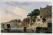 Dusasumade Gaut, at Bernares [Benares now Varanasi], on the Ganges, May 1796 From the book ' Oriental scenery: one hundred and fifty views of the architecture, antiquities and landscape scenery of Hindoostan ' by Thomas Daniell, and William Daniell, Published in London by the Authors January 1, 1812