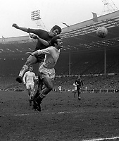 Peter Osgood (Chelsea) heads the ball above Terry Cooper (Leeds). Chelsea v Leeds United. FA Cup Final. Wembley<br /> <br /> Osgood scored in every round of the FA Cup for Chelsea in 1970 <br /> <br /> 11/04/1970. <br /> <br /> Credit: Colorsport.